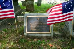 Joseph Hewes gravestone in Christ Church Burial Ground, Philadelphia, Pennsylvania, a signer of the Declaration of Independence Royalty Free Stock Photo