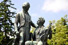 Joseph Lanner et monument de Johann Strauss dans Baden Photographie stock libre de droits