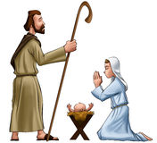 Joseph and mary. Crhistmas scene with joseph mary and jesus baby Stock Photos