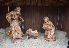 Joseph and Mary with baby Jesus statues at Christmas market. Sibiu, Romania Royalty Free Stock Images