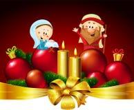 Joseph, Mary e Jesus - ilustração do projeto da bandeira do vetor do Natal com vela ilustração stock