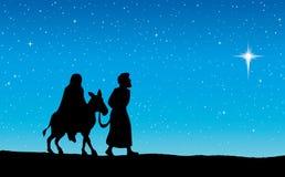 Joseph Mary gaat naar Bethlehem Vector tekening stock illustratie