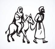 Joseph Mary gaat naar Bethlehem Vector tekening royalty-vrije illustratie