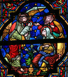 Joseph, Mary, Gabriel and Jesus - Stained Glass Stock Photos