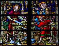 Joseph, Mary and Jesus - Stained Glass in Mechelen Cathedral Stock Photo