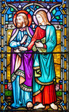 Joseph and Mary Stained Glass Window. Stained glass window showing Mary and Joseph, mother and stepfather of Jesus Royalty Free Stock Photos