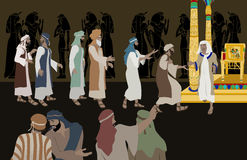 Joseph Meets His Brothers cs6. Vector illustration of Joseph Meets His Brothers, an emotional scene from the Bible inspired by the passage: Genesis 45:14-15 Royalty Free Stock Images
