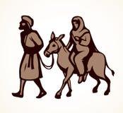 Joseph och Mary går till Betlehem bakgrund som tecknar den blom- gräsvektorn vektor illustrationer