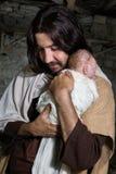 Joseph que abraça o bebê Jesus Imagem de Stock Royalty Free