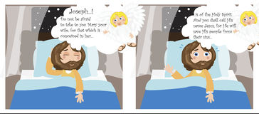 Joseph's dream. Angel speaking to Joseph in a dream about Mary and her baby Stock Photos