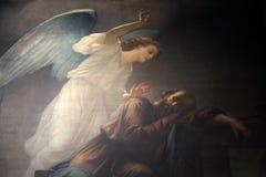 Joseph`s dream. Fresco in the Saint Sulpice Church, Paris, France stock photography