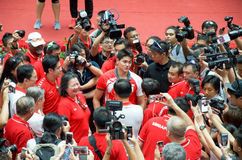 Joseph Schooling, the Singapore's first Olympic gold medalist, on his victory parade around Singapore. August 2016 Stock Photography