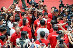 Joseph Schooling, the Singapore's first Olympic gold medalist, on his victory parade around Singapore. August 2016 Stock Photos