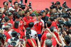 Joseph Schooling, the Singapore's first Olympic gold medalist, on his victory parade around Singapore. August 2016 Royalty Free Stock Image