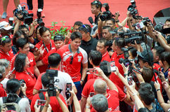 Joseph Schooling, the Singapore's first Olympic gold medalist, on his victory parade around Singapore. August 2016 Royalty Free Stock Photography