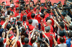 Joseph Schooling, the Singapore's first Olympic gold medalist, on his victory parade around Singapore. August 2016 Stock Photo