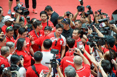 Joseph Schooling, the Singapore's first Olympic gold medalist, on his victory parade around Singapore. August 2016 Royalty Free Stock Images