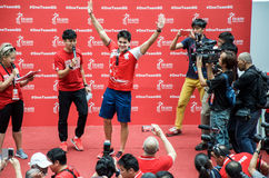 Joseph Schooling, the Singapore's first Olympic gold medalist, on his victory parade around Singapore. 18th August 2016 Stock Image