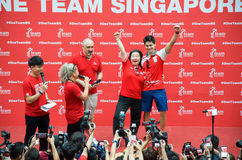 Joseph Schooling, the Singapore's first Olympic gold medalist, on his victory parade around Singapore. 18th August 2016 Royalty Free Stock Photography
