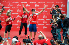 Joseph Schooling, the Singapore's first Olympic gold medalist, on his victory parade around Singapore. 18th August 2016 Stock Photo