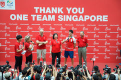 Joseph Schooling, the Singapore's first Olympic gold medalist, on his victory parade around Singapore. 18th August 2016 Stock Images