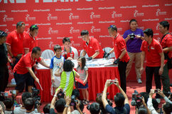 Joseph Schooling, the Singapore's first Olympic gold medalist, signing autographs at Raffles City, as part of his victory par. Joseph Schooling signing stock photos