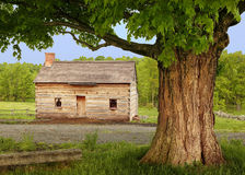Joseph Smith Family Cabin. A recreation of the Smith Family Cabin, near Palmyra, New York. Behind is The Sacred Grove, site of The First Vision by Joseph Smith Royalty Free Stock Photos