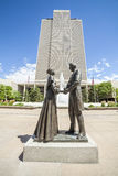 Joseph Smith with wife in front of LDS main office building royalty free stock images