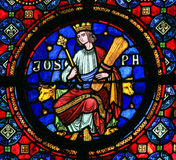 Joseph - Stained Glass. Joseph (son of Jacob), son of Jacob in the Hebrew Bible book of Genesis, depicted on a stained glass window in Dinant, Belgium Stock Photo