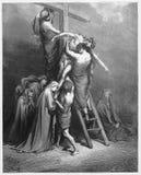 Joseph verlaagt Jesus van het kruis Stock Fotografie