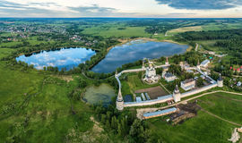 Joseph-Volokolamsk Monastery and Joseph pond. Aerial view on Joseph-Volokolamsk Monastery and Joseph pond, Moscow oblast, Russia stock photography