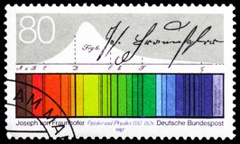 Joseph von Fraunhofer, Birth Bicentenary of Joseph von Fraunhofer serie, circa 1987. MOSCOW, RUSSIA - FEBRUARY 22, 2019: A stamp printed in Germany, Federal stock photography