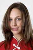 Josephine 18020. Mid 20's brunette female stares directly in studio portrait royalty free stock photos