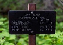 Josephine Lake Trail Sign royaltyfri foto