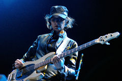 Josephine Wiggs, bass player for The Breeders band, performs at Heineken Primavera Sound 2013 Festival. BARCELONA - MAY 24: Josephine Wiggs, bass player for The royalty free stock photography