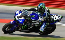 Josh Hayes. Races the Monster Energy sponsored Yamaha R1 super bike at the pro motorsports super motorcycle racing event, Central Ohio, United States Royalty Free Stock Photo