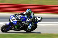 Josh Hayes racing the Yamaha R1 royalty free stock photography
