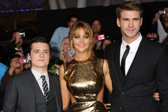Josh Hutcherson,Jennifer Lawrence,Liam Hemsworth Stock Image