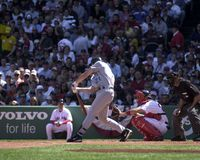 Josh Phelps. Tampa Bay Ray Josh Phelps batting against Tim Wakefield of the Boston Red Sox. Image taken from color slide Stock Photo