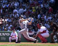 Josh Phelps. Tampa Bay Ray Josh Phelps batting against Tim Wakefield of the Boston Red Sox. Image taken from color slide Royalty Free Stock Images