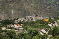 Joshimath镇, Chamoli区, Uttarakhand,印度鸟瞰图  库存图片