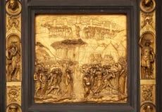 Joshua, Gates of Paradise, Baptistry of Florence Cathedral. Baptistry of Saint John, Gates of Paradise, Joshua, Florence, Italy Royalty Free Stock Photos