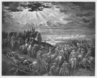 Joshua que ruega para que el sol todavía se coloque stock de ilustración