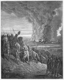 Joshua quema la ciudad del Ai ilustración del vector