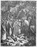 Joshua spares Rahab. Picture from The Holy Scriptures, Old and New Testaments books collection published in 1885, Stuttgart-Germany. Drawings by Gustave Dore stock illustration