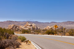 Joshua Tree National Park winding road sign Stock Image