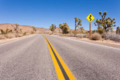 Joshua Tree National Park winding road sign Royalty Free Stock Image