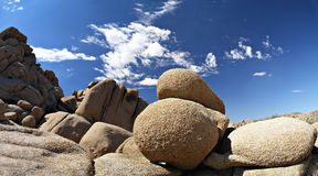 Joshua tree rock formations. Rock formations in Joshua Tree Park, CA Royalty Free Stock Images