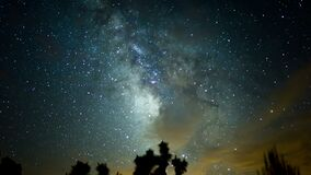 Joshua Trees and Milky Way Galaxy Time Lapse Mojave Desert California