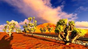 Joshua trees and railroad Royalty Free Stock Photos